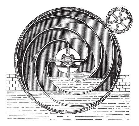 Turbine wheel, vintage engraved illustration. Dictionary of words and things - Larive and Fleury - 1895.