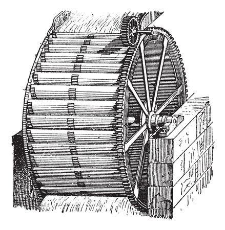 Seau Waterwheel, vintage illustration gravée. Dictionnaire des mots et des choses - Larive et Fleury - 1895.
