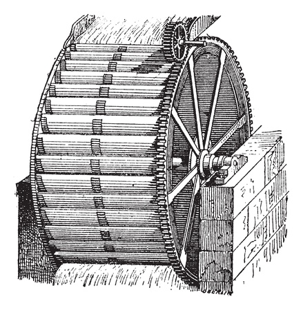 Waterwheel bucket, vintage engraved illustration. Dictionary of words and things - Larive and Fleury - 1895. Vector
