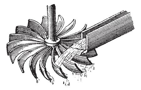 molino de agua: Rueda de agua horizontal, cosecha ilustración grabada. Diccionario de palabras y las cosas - Larive y Fleury - 1895.