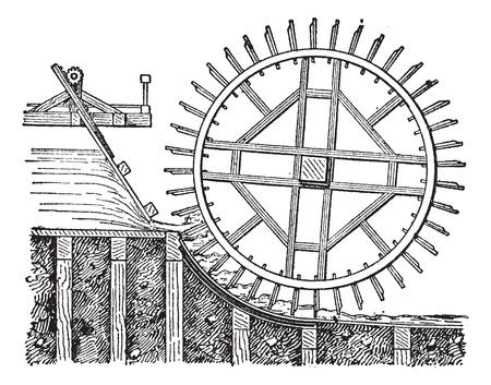 molino de agua: Waterwheel flotador avión, añada una ilustración grabada. Diccionario de palabras y las cosas - Larive y Fleury - 1895. Vectores
