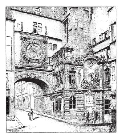 루앙, 큰 시계, 노르망디, 프랑스, 빈티지 새겨진 그림. Larive 및 플 뢰리 - - 1895 단어와 사물의 사전.
