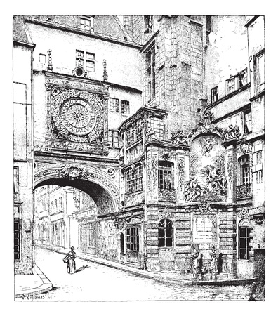 Rouen, the big clock, Normandy, France, vintage engraved illustration. Dictionary of words and things - Larive and Fleury - 1895. Vector