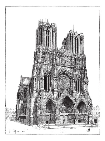 Cathedral of Reims, France, vintage engraved illustration. Dictionary of words and things - Larive and Fleury - 1895. Vector