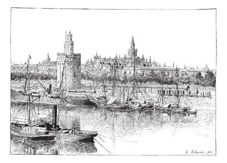 Bekijk van Sevilla, Spanje, vintage gegraveerde illustratie. Woordenboek van woorden en dingen - Larive en Fleury - 1895.