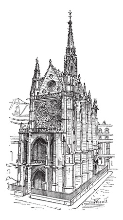 Sainte-Chapelle in Paris, France, vintage engraved illustration. Dictionary of words and things - Larive and Fleury - 1895. Illustration