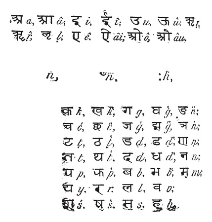 Sanskrit alphabet, vintage engraved illustration. Dictionary of words and things - Larive and Fleury - 1895. Stock Vector - 13766430