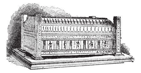 Old engraved illustration of Sarcophagus, which contains the mummy of Seracher. Dictionary of words and things - Larive and Fleury ? 1895 Illustration
