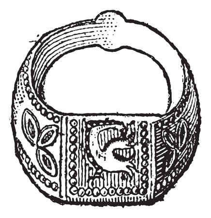 Seal, Signet ring with the symbol of the dove, vintage engraved illustration. Dictionary of words and things - Larive and Fleury - 1895.