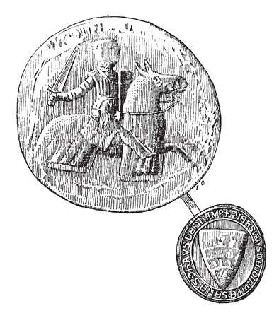 Seal against seal, Jean, Sire de Joinville died in 1317, vintage engraved illustration. Dictionary of words and things - Larive and Fleury - 1895. Stock Vector - 13770201