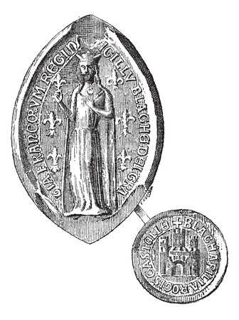 Seal against seal of Blanche of Castile, vintage engraved illustration. Dictionary of words and things - Larive and Fleury - 1895. Stock Vector - 13770680