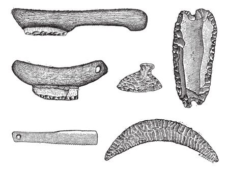 primitive tools: Prehistoric saws, vintage engraved illustration. Dictionary of words and things - Larive and Fleury - 1895.