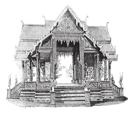 buddhist structures: Hall of Siam, vintage engraved illustration. Dictionary of words and things - Larive and Fleury - 1895.