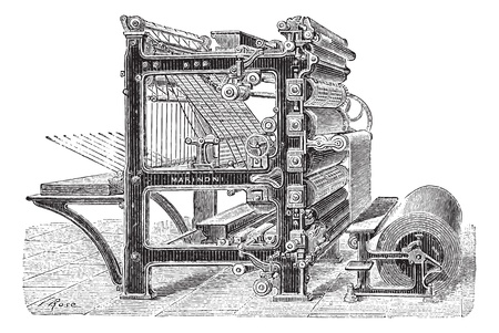 Old engraved illustration of Marinoni Rotary printing press with a roll of paper moving inside it, this machine can produce 20,000 copies of journals at one time and it can come with mechanical brakes as well. Dictionary of words and things - Larive and F Vettoriali