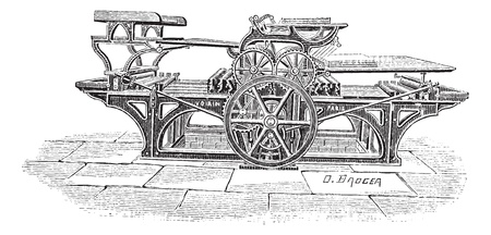 printing machine: Old engraved illustration of Double printing press, this press can print 1000 papers with both sides printed in an hour. Dictionary of words and things - Larive and Fleury ? 1895