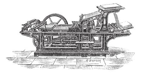 Oude gegraveerde illustratie van drukpers met een cilinder, kan dit bericht af te drukken 1000 papier met aan een zijde bedrukt in een uur. Woordenboek van woorden en dingen - Larive en Fleury? 1895