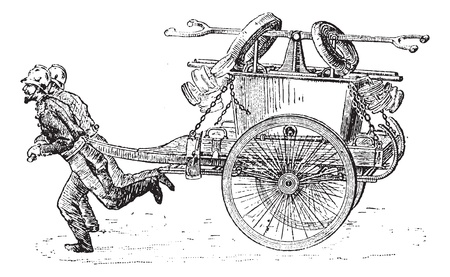 Old engraved illustration of Firefighter arm pump with carriage and two people pulling it forward. Dictionary of words and things - Larive and Fleury ? 1895