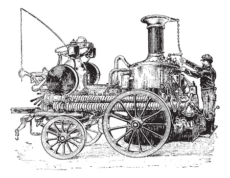 Old engraved illustration of steam pump on carriage, it is used against fire. Dictionary of words and things - Larive and Fleury ? 1895