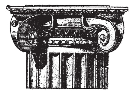 Fig. 3. Ionic (Pompeii) with angle volutes, vintage engraved illustration. Dictionary of words and things - Larive and Fleury - 1895.