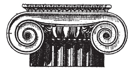 Fig. 1. Ionic Greek, Anter and poster views, vintage engraved illustration. Dictionary of words and things - Larive and Fleury - 1895. Stock Vector - 13770114