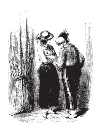 interacting: A private conversation of two woman behind a curtain. From the Oeuvres choisies de Gavarni, Paris, 1848 book.