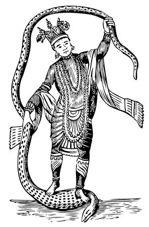 Vieille illustration de Vishnou dans l'Avatar 8. Vivez vecteur trace. De l'histoire de l'Ancienne et Honorable Fraternité des Maçons Libres et Acceptés et ordonnances concordants, édité par Lee C. Hascall, et. al., 1890 Banque d'images - 13766990