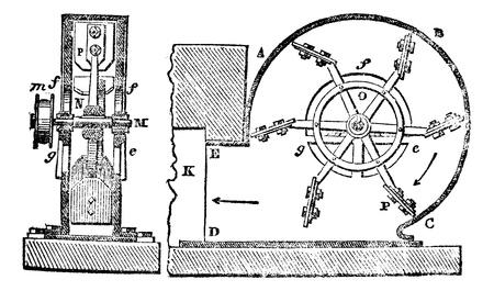 Ventilator, Jahrgang gravierte Darstellung. Magasin Pittoresque 1875. Standard-Bild - 13770482