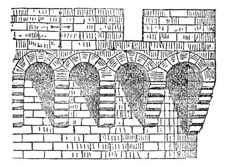avignon: Machicolation the enclosure of Avignon, vintage engraving. Illustration