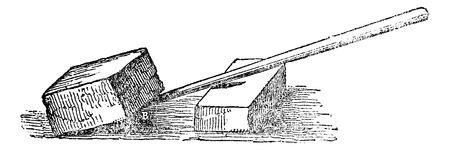 apalancamiento: Palanca, cosecha ilustraci�n grabada. Magasin Pittoresque 1875. Vectores