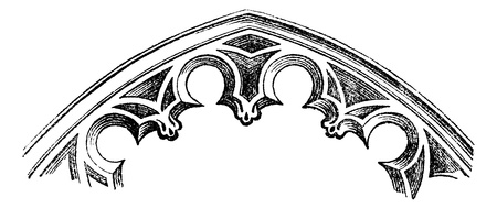 FR Intrados - arches cut-to-date (XV century), vintage engraved illustration. Magasin Pittoresque 1875 向量圖像