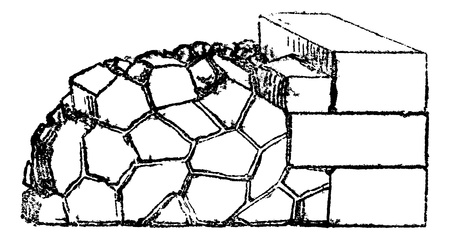 pave: Crazy paving of the Romans contains joints in all directions, vintage engraved illustration. Magasin Pittoresque 1875. Illustration