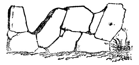 paving stones: Crazy paving of the Romans contains joints in all directions, vintage engraved illustration. Magasin Pittoresque 1875. Illustration
