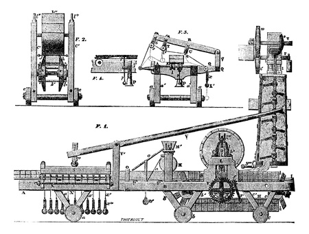 magasin pittoresque: Tile machine, vintage engraved illustration. Magasin Pittoresque 1875