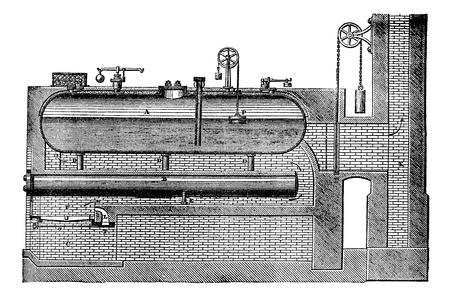 boiler: High pressure steam generator, vintage engraved illustration. Steam boiler. Magasin Pittoresque 1875. Illustration