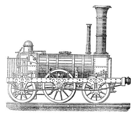 black train: Locomotora de vapor, vintage grabado ilustraci�n. Magasin Pittoresque 1875