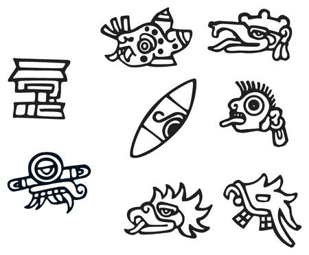 마야의 상징, 문신에 대한 좋은 작품, 잉카 표지판 및 기호의 많은 일러스트