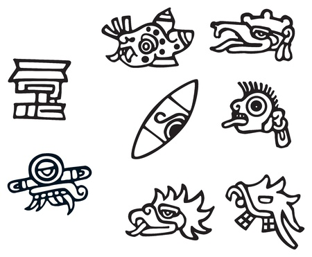 Mayan symbols, great artwork for tattoos, lots of Inca signs and symbol Stock Vector - 14613224