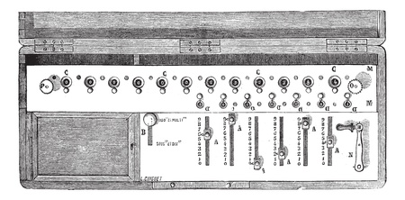 mention: Old engraved illustration of Arithmometer or Arithmometre with mention of its functioning parts. Industrial encyclopedia E.-O. Lami ? 1875.