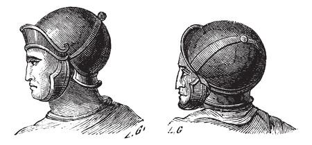 cascos romanos: Ilustración del Antiguo grabado de cascos legionarios aislados sobre un fondo blanco. Industrial enciclopedia E.-O. Lami? 1875.