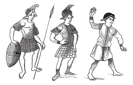 ancient soldiers: The Fact-simile of three Gallo-roman soldiers vintage engraving
