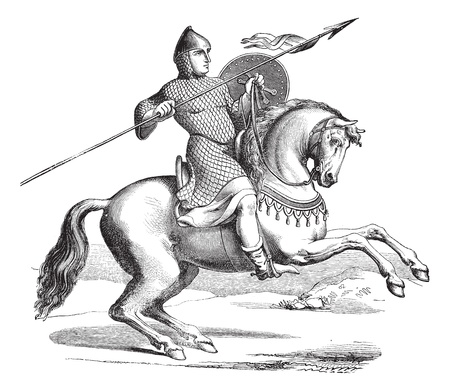 Old engraved illustration of knight on a horse wearing hauberk, themed after Meyrick. Industrial encyclopedia E.-O. Lami ? 1875. Vector
