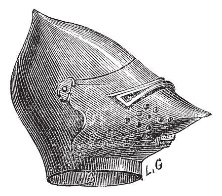 Old engraved illustration of the mask helmet isolated on a white background. Industrial encyclopedia E.-O. Lami ? 1875. Illustration