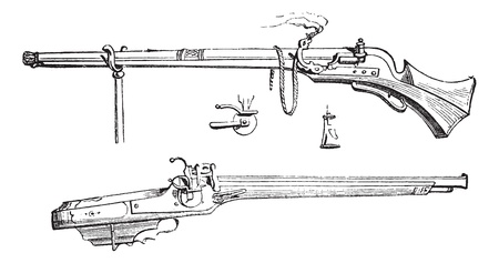 antique rifle: Old engraved illustration of Arquebus or Hook tube or Harquebus or Harkbus with its spinning wheel isolated on a white background. Industrial encyclopedia E.-O. Lami ? 1875.