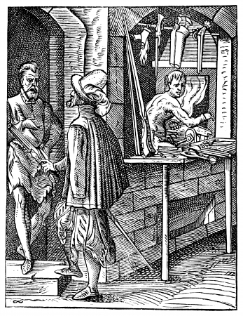 Old engraved illustration of Gunsmith shop with three people. Industrial encyclopedia E.-O. Lami ? 1875.