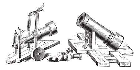 bombard: Old engraved illustration of Bombard (weapon) of the fifteenth century. Industrial encyclopedia E.-O. Lami ? 1875. Illustration
