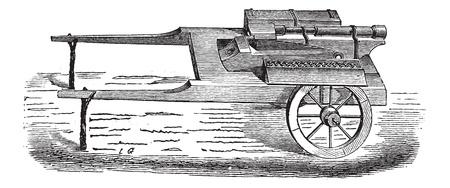 bombing: Oude gegraveerde illustratie van bombardementen campagne van de vijftiende eeuw. Industriële encyclopedie E.-O. Lami? 1875.