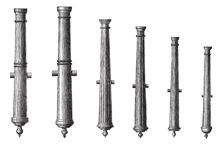 Old engraved illustration of six different types of cannon isolated on a white background. Industrial encyclopedia E.-O. Lami ? 1875.