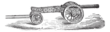 seventeenth: Old engraved illustration of cannon with limber of the seventeenth century. Industrial encyclopedia E.-O. Lami ? 1875.