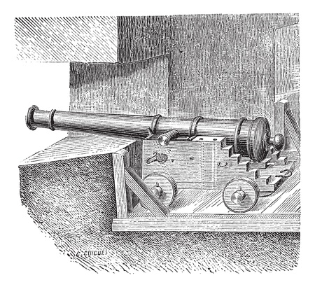 artillery: Old engraved illustration of Artillery battery on the dimension of ship, created under Louis XIV. Industrial encyclopedia E.-O. Lami ? 1875.