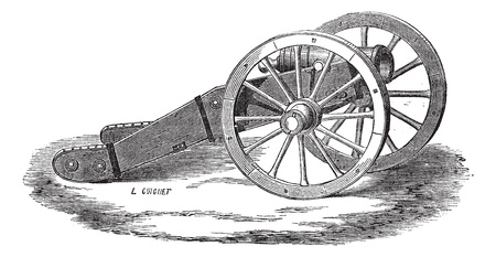 howitzer: Old engraved illustration of Mounting of howitzer (Valliere system). Industrial encyclopedia E.-O. Lami ? 1875.